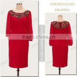 Beaded chiffon kaftan red wristband short-length elegant long sleeve evening dresses