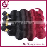 Three Tone Color Human Hair Weave Brazilian Hair Red Weft Ombre Hair Extension