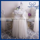 CH019CA New 2015 wedding high back puffy Christmas tutu ivory tulle chair cover with flower