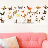 Romantic Repeat Wallpaper butterflies Restaurant Wall Stickers Living Room TV/Sofa Background Mural Decal Metope JM8142