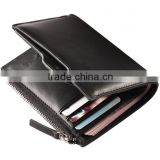Real leather men travel wallet with rfid card holder and coin pocket