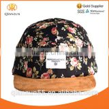 Leather strap suede brim cotton black floral 5 panel caps with woven label design your own custom floral 5 panel hat cap