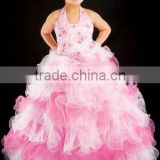 Free shipping hot!!halter embriodered backless ruffles pageant ball gown flower girl dress CWFaf4391