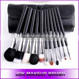 OEM Black goat cosmetic brush set of 11 foundation brush with synthetic hair rolling makeup case