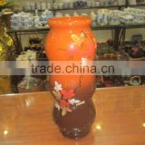 Hanoi ceramic vase, orange & brown color, floor design, cheap price ceramic vase in Vietnam