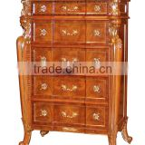 Royal Palace Bedroom Furniture- 5 Drawers Chest, Exquisite Carved Wooden Side Cabinet /Chest of Drawers