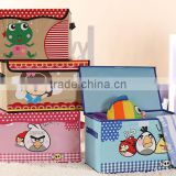 cartoon oxford cloth storage boxes,fabric non woven storage bins,collapsible foldable storage packing box with lid and handle,