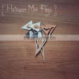Vintage Triangle Halloween Cupcake Food Pick Toothpick Flag
