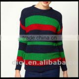 Spring/autumn/winter casual sample bright candy color stripe pullover knitwear