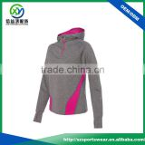 New Design Splicing Color Fabric Women Sport Hooded Pullover Sweatshirt With Your Logo