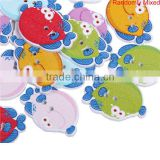 2 Holes Fish Animal At Random Wood Sewing Buttons Scrapbooking