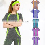 New Style Yoga Stripes clothing cotton promotion fitness T-shirt