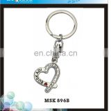 Rhinestone heart floating keychain