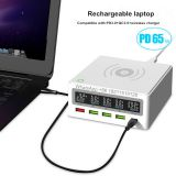 5 Port PD65W Cargador Inalambrico QC3.0 Fast Charge With LCD Display Cargadores