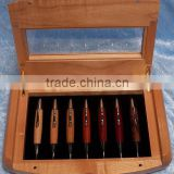 Natural color varnished solid wooden pencil boxes,wood pen box with glass lid