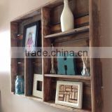 Rustic stain antique solid wooden wall shelf,vintage wall shelves wood