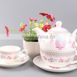 5 pcs ceramic animal tea set for promotion with cheap price porcelain cup and saucer and tea pot