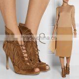 C89229A europea women sexy high heel suede shoes bulk wholesale women tassel suede shoes fashion boots
