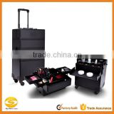 Professional 4-in-1 trolley makeup artist case,professional cosmetic trolley cases,OEM Black rolling aluminum makeup vanity case