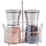 Top quality 18/8 SS Salt and Pepper Shakers with Matching Stand Salt and Pepper Grinders                                                                         Quality Choice