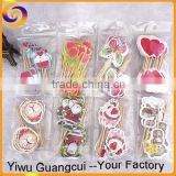Hot sale 12pcs sets wholesale Cupcakes inserted card party picks                                                                         Quality Choice