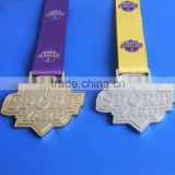 Custom Metal Plated Gold & Silver Tone Zinc Alloy Sport Ribbon Medallion for Souvenir