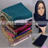 2016 Latest Fashion Women Ladies' Plain Cotton Linen Beaded Hijab Scarf                                                                         Quality Choice