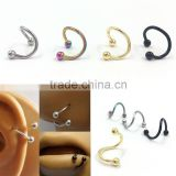 4PCS Different Colors Nose Piercing Unique Design Stainless Steel Twist Nose Lip Ring Nose Stud Body Piercing Jewelry For Women