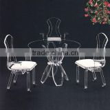 A set of romantic wedding round table and chair acrylic furniture set