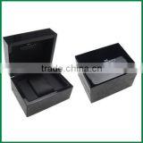 Custom MDF black watch gift box, lacquered wooden watch gift Packaging Box, Popular Black Lacquered Single Wooden Watch Box,