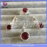 Beautiful flower ring ,earring ,pendant set thai silver red zircon heavy kundan jewelry set (0759T21)