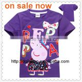 latest deisgn Wholesale child clothes cotton purple printed t shirts for boys stock design