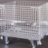 High Grade Warehouse / Supermarket Folding Steel Storage Cages Roll Container