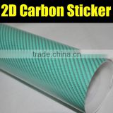 Green 2D Carbon Fiber Vinyl Film, Glossy Wrapping Vinyl Sheet Without air drain Thickness:0.15mm 1.27*50m