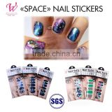 wholesale nail supplies OEM 12 fingers nail charms SPACE nails stickers salon