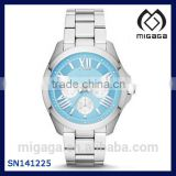 Women's Multifunction Stainless Steel Watch - Silver-Tone with Blue Dial Quartz Mot Watch For women 316L
