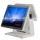 Android OS 15 inch LED dual screen touch screen monitor pos system terminals for supermarket