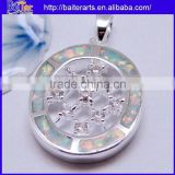 Hot !! Pendant Necklace Blue Fire Opal 925 Sterling Silver Round Diamond Necklace Pendants
