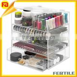 Acrylic makeup/Jewelry Organizer, 2-Piece Set w/Lid, 4 Compartments storage, Clear                                                                         Quality Choice