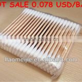 double-tipped hard wood stick cotton swabs,100 tips in pp bag