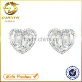 women rhodium plated white zirconia crystal heart earrings