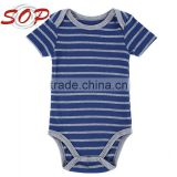 Cotton Blends Knitted Navy Blue Striped Short Sleeve Cute Simple Soft Baby Clothes Baby Boy Romper Pattern