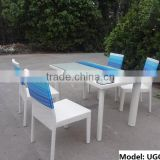 2014 new style outdoor white rattan cube dining table and chair UGO-C170