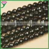 cheap price 10mm natural faceted round black agate beads for make necklaces