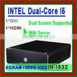Free shipping alluminum htpc slim server pc with INTEL i5 dual core with windows xp xpe 7 linux small desktop slim zero client