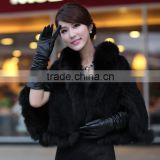 Fashion Knitted Real Mink Fur Shawl For Women's Clothing