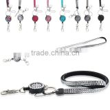 Rhinestones Crystal Lanyard Retractable ID Name Card Badge Reel Phone Key Holder keychain
