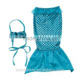 Fancy baby girl clothes blue mermaid set swimming dress unique crochet costume outfits