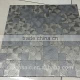 kitchen backsplash metal mosaic with tightly spaced design