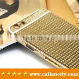 Factory sale back cover housing with diamonds 24k gold for iPhone 6 6s plus